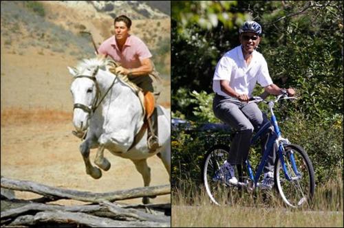 Obama Bike Putin On Horseback Riding Beside