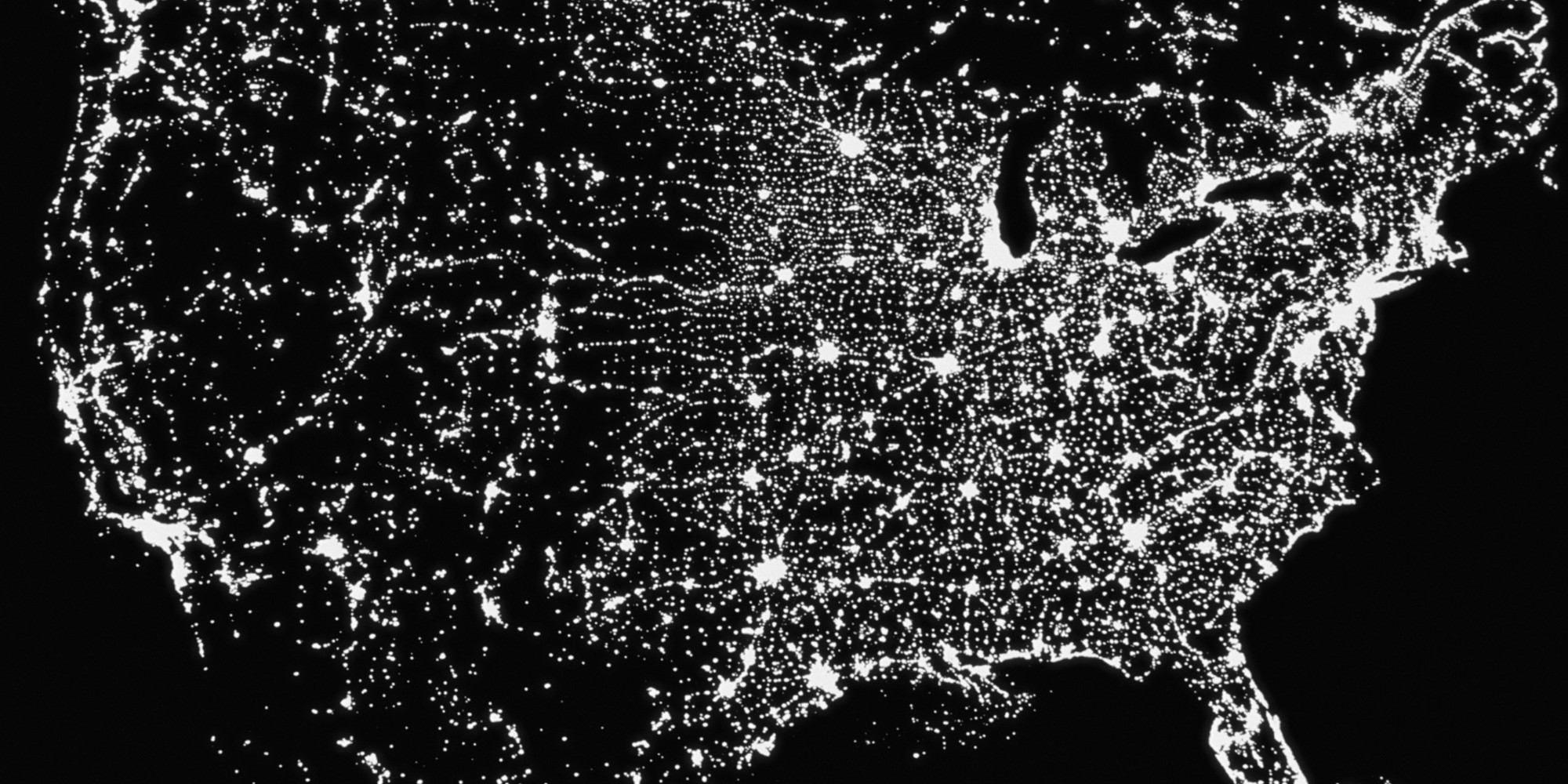 Tomorrow Warming Alarmists Want The US To Look Like North Korea - Satellite map of se us at night